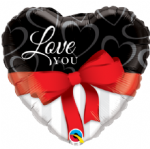 "Love You Red Ribbon Foil Balloon (18"") 1pc"